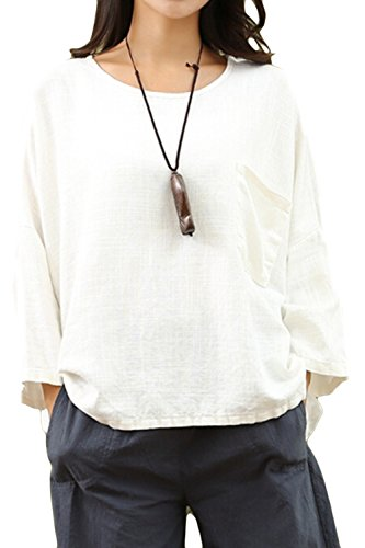 Asher Women's Essential Casual Loose Solid Cotton Linen Tops Blouses (One Size, White) (Blouse White Linen)