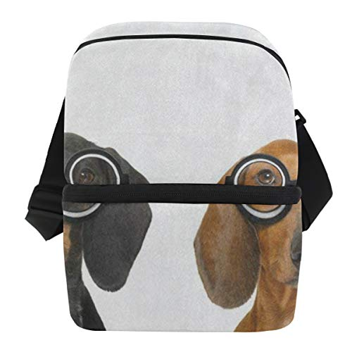(Lunch Bag Couple Of Silly Dachshund Puppy Dog Insulated Cooler Bag Adult Leakproof Food Storage Zipper Tote Bags for Golf)