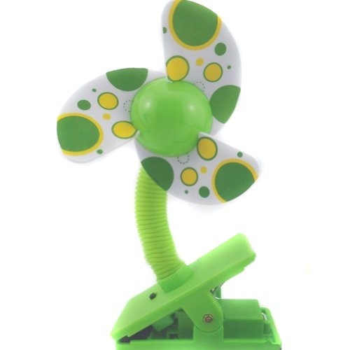 Nsstar Battery Powered Baby Clip-On Mini Stroller Fan for Strollers Baby Cots Playpens (Green)