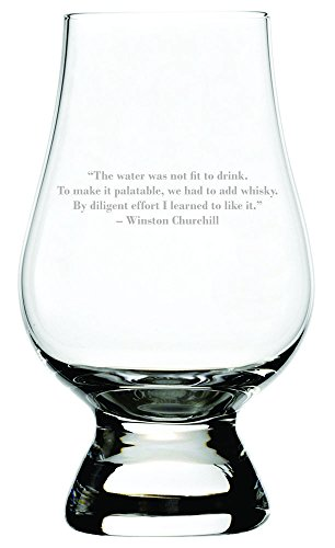 Winston Churchill Quote Etched Glencairn Crystal Whisky Glass