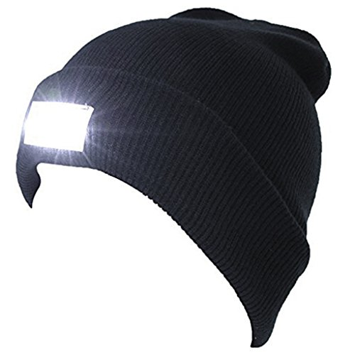 ED Knitted Flashlight Beanie Hat/cap for Hunting, Camping, Grilling, Auto Repair, Jogging, Walking, or Handyman Working - One Size Fits Most(Black) (Led Hat Light)