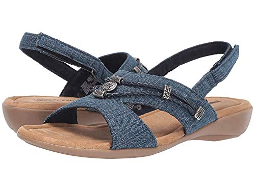 Minnetonka Womens Sylvia Sandal, Blue Denim, Size 9