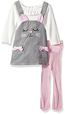 Youngland Baby Girls' 3 Pc Set, Corduroy Face Jumper Dress, Onsie and Tights, Grey/White, 3-6 - Corduroy Jumper Dress Set