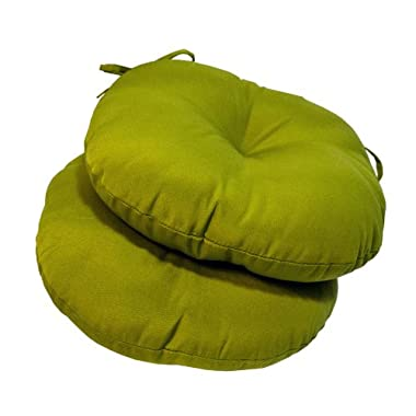Greendale Home Fashions 15-Inch Round Indoor/Outdoor Bistro Chair Cushion, Kiwi, Set of 2