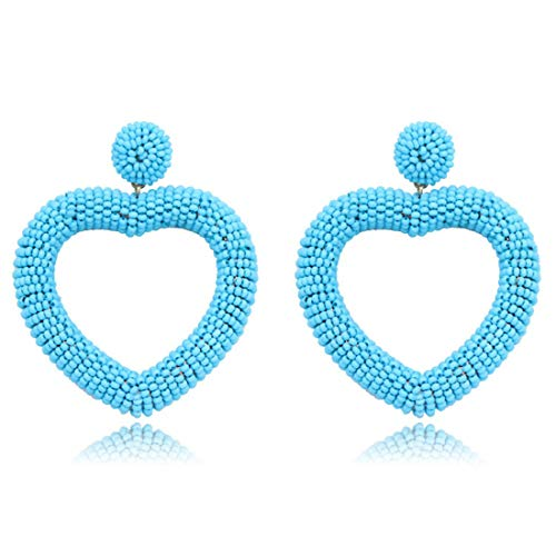 - Lullabb Statement Beaded Heart Hoop Earrings Fashion Bohemian Handmade Woven Blue Glass Seed Whimsical Drop Earring Stud Jewelry Idear Gifts for Mom Sisters Friends