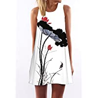 Mini Sundress,OHTOP Summer Women O Neck Casual Sleeveless Loose Floral Print Vest Mini Sundress(Pattern K)