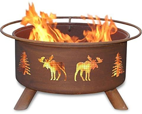 Patina Products F108, 30 Inch Moose & Trees Fire Pit (Moose Fire Pit Ring)
