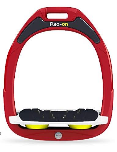 【 限定】フレクソン(Flex-On) 鐙 ガンマセーフオン GAMME SAFE-ON Mixed ultra-grip フレームカラー: レッド フットベッドカラー: ホワイト エラストマー: イエロー 07705   B07KMF4TP2