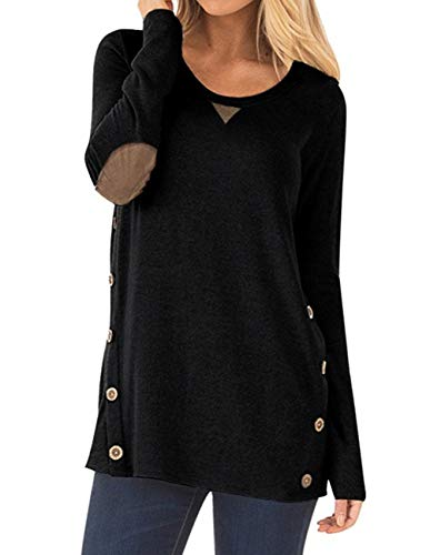 - Women's Long Sleeve Pullover Sweatshirt Button Round Neck Casual Tunic Tops