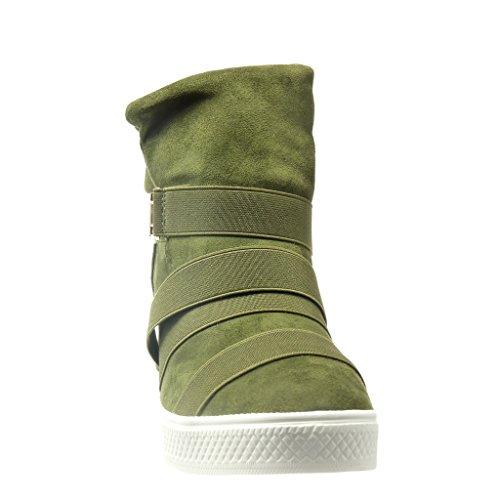 Angkorly - Scarpe da Moda Sneaker Zeppa alti zeppe donna fibbia metallico tanga Tacco zeppa 2.5 CM - Verde