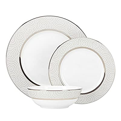 Lenox Pearl Beads 3-Piece Place Setting, White - Crafted of Lenox fine bone china Accented in platinum Dishwasher safe - kitchen-tabletop, kitchen-dining-room, dinnerware-sets - 41eB8djPozL. SS400  -
