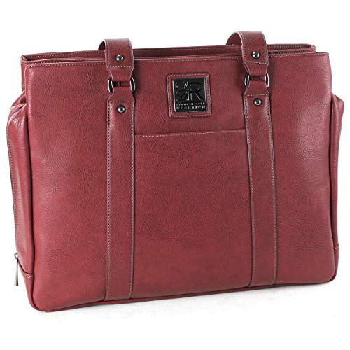 "- Kenneth Cole Reaction Pebbled Faux Leather Triple Compartment Top Zip Women's 15.0"" Computer Tote Travel, Burgundy, One Size"