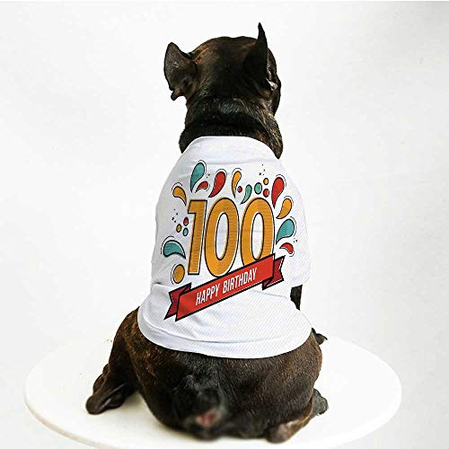 YOLIYANA 100th Birthday Decorations Stylish Pet Suit,Grannies Lived for Centuries 100 Birthday Party Digital Image for Small Medium Big Dogs,L]()