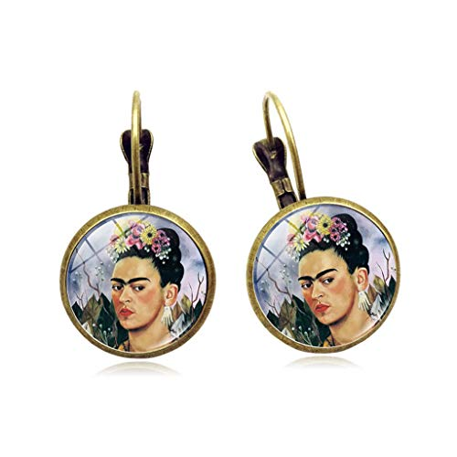 Tebatu Mexico Art Pain French Hook Earrings Glass Cabochon Frida Kahlo Portrait Jewelry Bronze 2.8x1.5cm