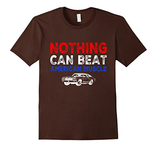 [Men's Nothing Can Beat American Muscle Hot Rod Cars 60s 70s Shirt 2XL Brown] (70s Era Clothing)