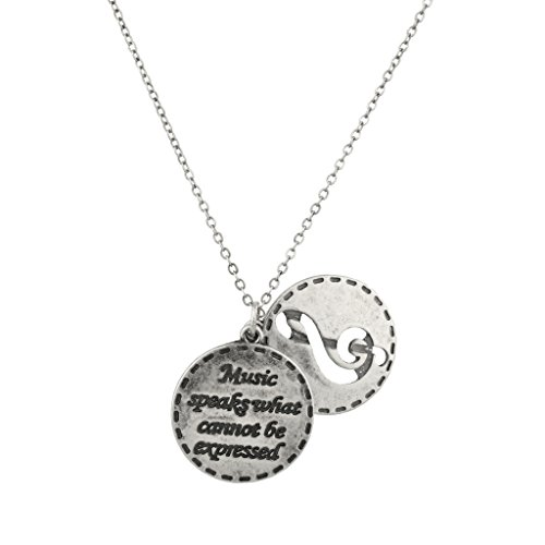 Music Speaks What Cannot Be Expressed Treble Clef Inspiration Pendant Necklace.