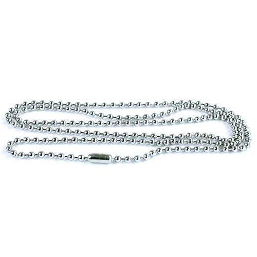50 Pack Silver Ball Chain Dog Tag Necklace - Paracord Planet 24 Inch Long 2.4mm Bead Size - Adjustable Metal Bead Chain Matching Connector - Tag Silver Plated