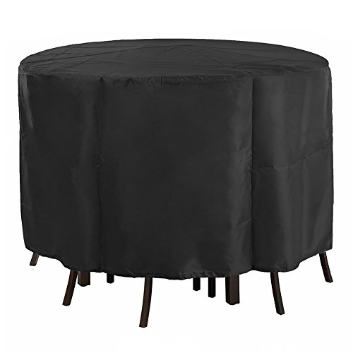 (POMER Patio Table & Chair Set Cover - 90 x 43 Inch Premium Outdoor Furniture Cover with Durable and Water Resistant Fabric,Black)