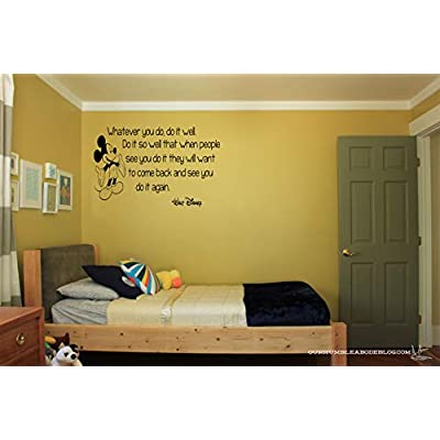 Disney Mickey Whatever You Do It Well Wall Quote Vinyl Wall Decal Sticker: Baby