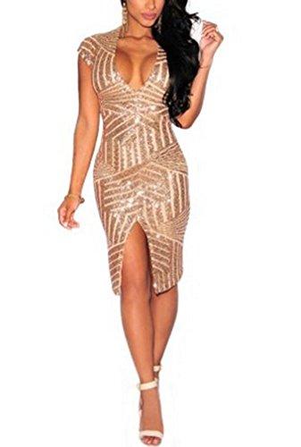 Women's Front Slit Sequin Deep V Neck Short Sleeve Sexy Nightclub Dress Beige M (Teen Sexy Dress)