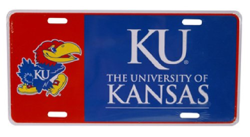NCAA Kansas Jayhawks Color Block Car Tag ()