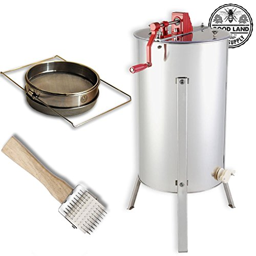 Goodland Bee Supply 2 Frame Honey Extractor, Uncapping Roller, and Stainless Steel Sieve Honey Strainer - GL-E2-UR/STR by Goodland Bee Supply®