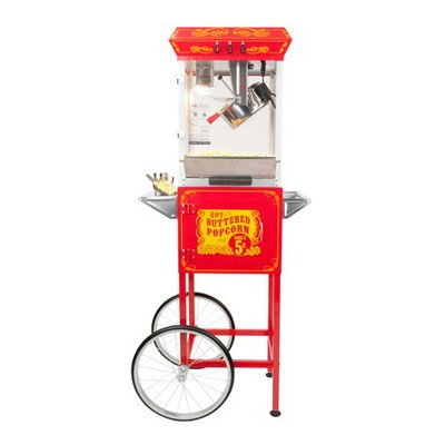FunTime Sideshow Popper 8-Ounce Hot Oil Popcorn Machine with Cart, Red/Silver by Funtime