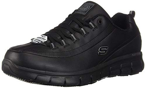 (Skechers Work Womens Sure Track Trickel Slip Resistant Work Shoe, 8 XW US, Black)