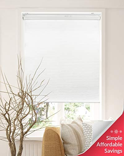Chicology Cordless Roller Shades Snap-N -Glide, Privacy Natural WovenPerfect for Living Room Bedroom Nursery Office and More.Felton White Privacy Natural Woven , 48 W X 72 H