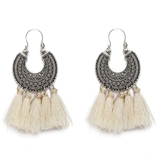 AMCHIC Fan Shape Bohemian Statement Silky Tassel Fashion Earrings for Women Dangling,Thread Fringe with Vintage Ethnic Pattern Metal Drop Pendant Earrings,Ladies