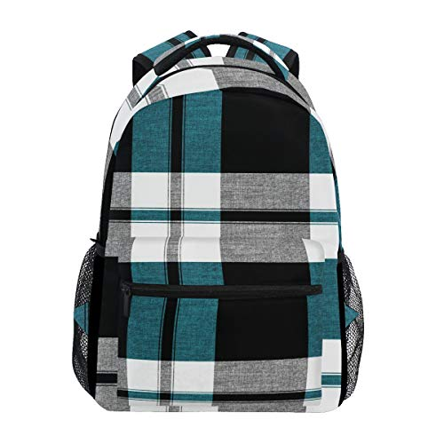 Backpack Plaid Pattern Checkered Blue Black White Grey Canvas School Bags Laptop