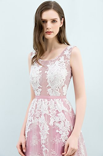 Abendkleid Elegant Rückenfrei Misshow Ball Rosa Dress Lang Applique Damen Prom Tüll Abiballkleid HYEw5