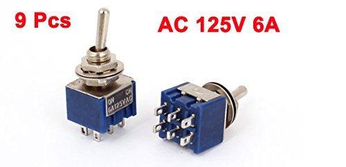 DealMux 9Pcs AC 125V 6A 6-Pin DPDT On-On 2 posição de travamento Mini Interruptor de Báscula: Amazon.com: Industrial & Scientific