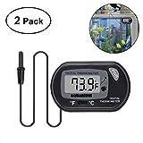 UEETEK 2 Pieces Aquarium Thermometer, Digital LCD Thermometer with Suction Cup for Measuring Pond Aquarium/Aquarium / Reptile Turtles Habitats