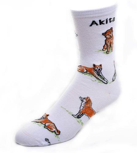 For Bare Feet-Akita Dog Adult Poses Socks,White,Medium