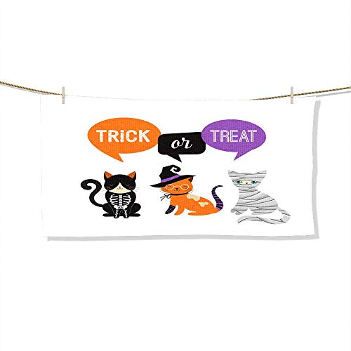 FootMarkhome Microfiber Beach Towel Happy Halloween - Cats