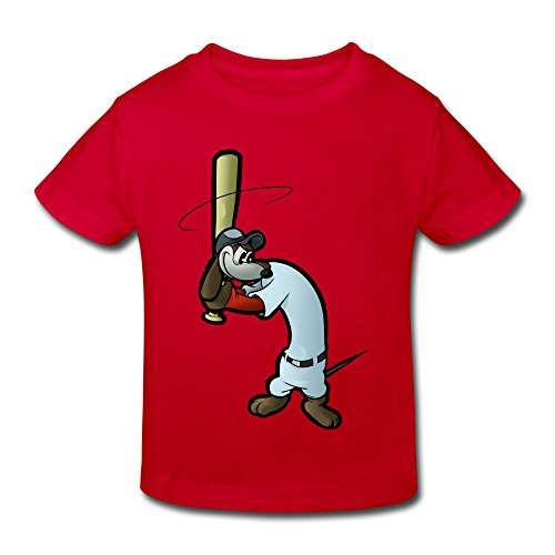 Red Ninva Little Boys Girls Roundneck Baseball Dachshund T-shirts For Toddlers Size 4 (Dachshunds Kids T-shirt)