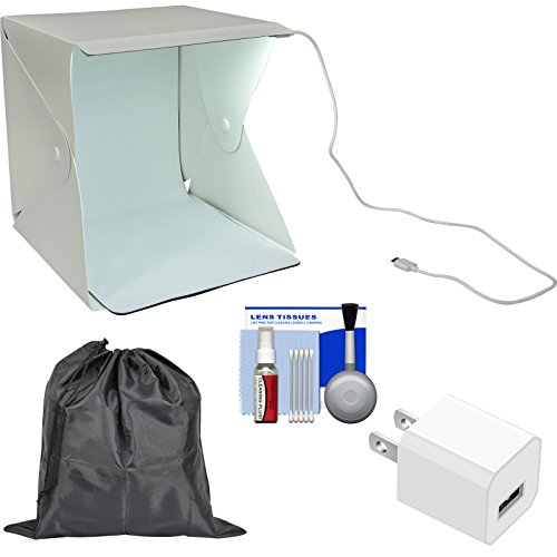 Precision Design PD-PLB1 LED Portable Light Box Photography Studio with USB Wall Charger Plug + Storage Pouch + Kit