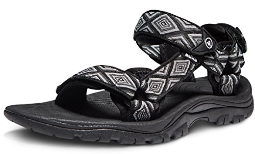 ATIKA Men's Sport Sandals Maya Trail Outdoor Water Shoes, Maya(m111) - Geometric Black, 9