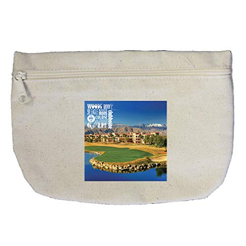 (Wood Tee Par Eagle Bocey in Hole One Golf! Clubhouse Cotton Canvas Makeup Bag)