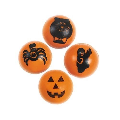 48 Mini HALLOWEEN bouncy BALLS - Halloween toys and party favors, teal pumpkin fillers