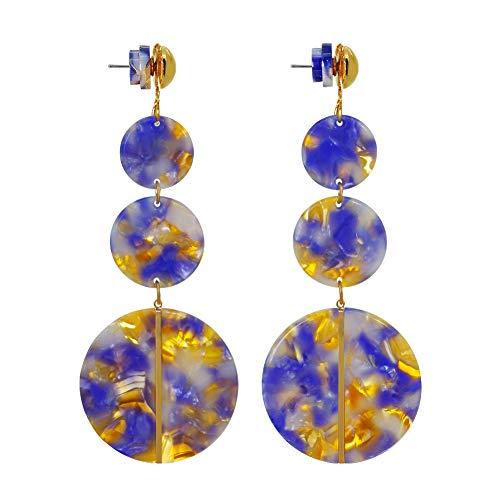 Jinling Blue Circle Earrings Drop Dangle Earrings Acrylic Hoop Earrings for Women Circle Resin Textured