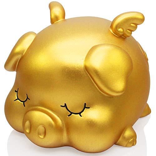 H&W Golden Piggy Bank for Baby, Shatterproof Money Bank, Very Cute Sleeping Pig, Medium Size, Great Coin Bank Gift for Boy, Girl (WK7-D4)