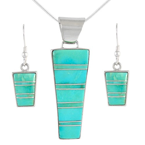 "Genuine Turquoise Matching Set in Sterling Silver (Pendant, Earrings, 20"" Necklace) Turquoise"