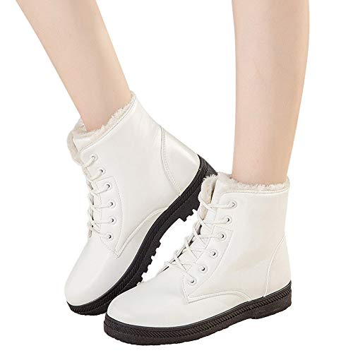 Women's Leather Snow Boots High Top Ankle Boots Flat Lace Up Winter Shoes with Fur (White, US:8.0)