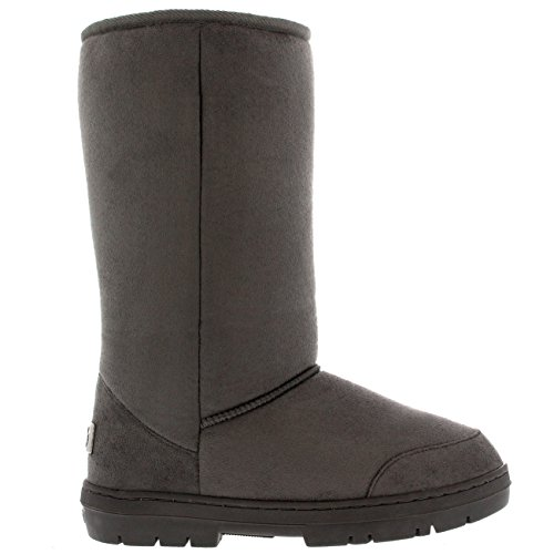 Mujer Original Tall Classic Fur Lined Impermeable Invierno Rain Nieve Botas Gris