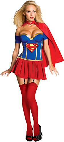 Secret Wishes Womens DC Comics Supergirl Corset Costume, Red/White/Blue, Large (Supergirl Sexy Costume)