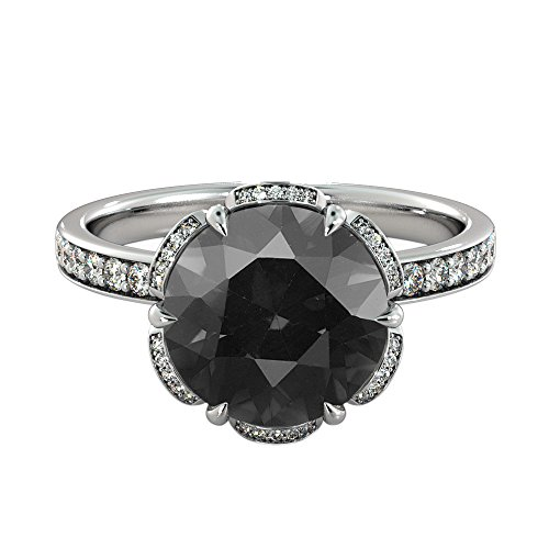 2.00 CTW Black Diamond Ring 14K White Gold Flower Vintage Halo ()