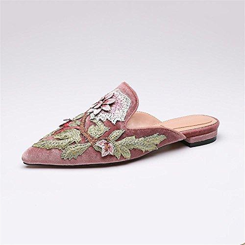 Heart&M Retro Pleuche impresión punta estrecha talón bajo de la mujer suela plana sandalias de los deslizadores Pink