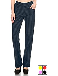 Straight Fit Stretchy Pinstripe Trousers